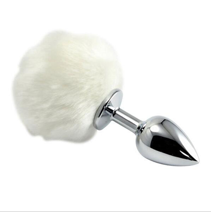 Small Size 7*2.8cm Stainless <font><b>Steel</b></font> <font><b>Metal</b></font> Sexy Rabbit Tail <font><b>Anal</b></font> Plug Bunny Pompon Butt Plug <font><b>Unisex</b></font> <font><b>Sex</b></font> <font><b>Products</b></font> <font><b>Sex</b></font> <font><b>Toy</b></font> for Women