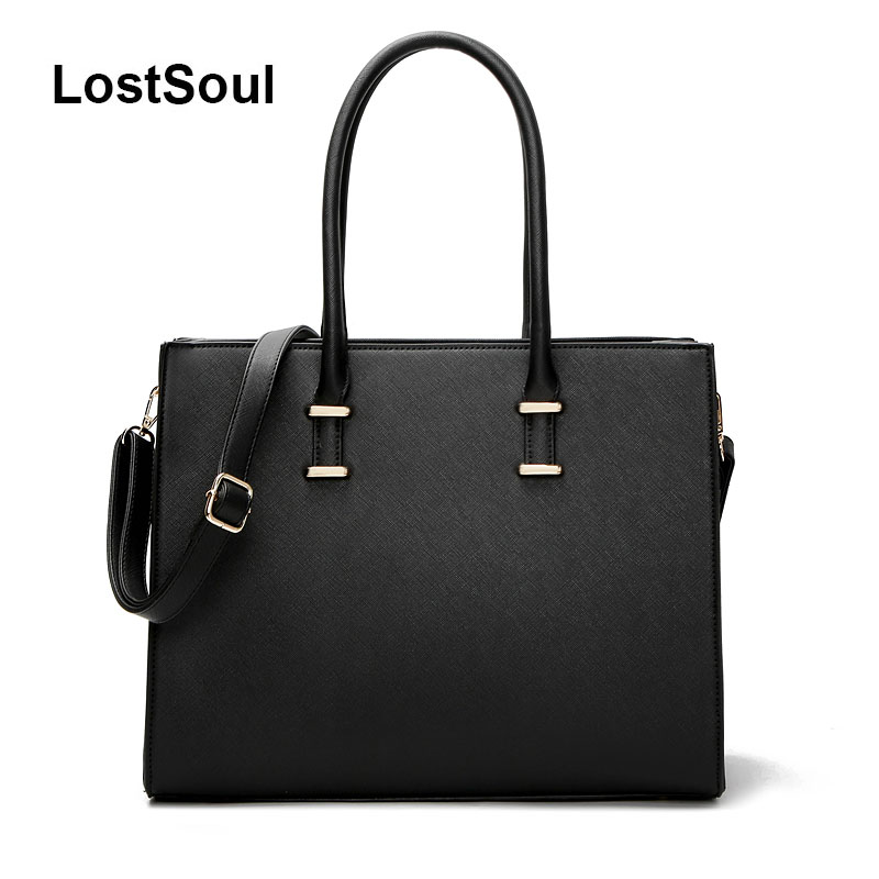 LostSoul brand women leather handbags for laptop bags briefcase Top Handle bags designer business shoulder ladies totes black