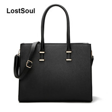 LostSoul brand women leather handbags for laptop bags briefcase Top-Handle bags designer business shoulder ladies totes black цена