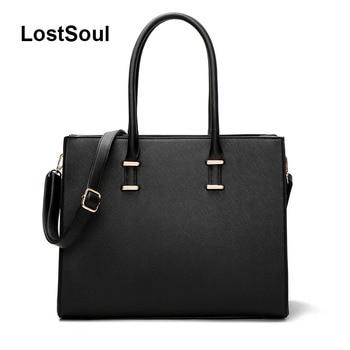 LostSoul brand women leather handbags toothpick stripes briefcase Top-Handle bags designer business shoulder ladies totes black grande bolsas femininas de couro
