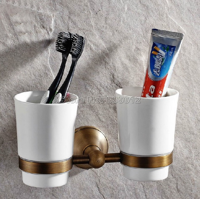 Antique Brass Wall Mounted Toothbrush Holder with Two Ceramic Cups Wba145 black oil rubbed bronze wall mounted toothbrush holder with two ceramic cups wba472