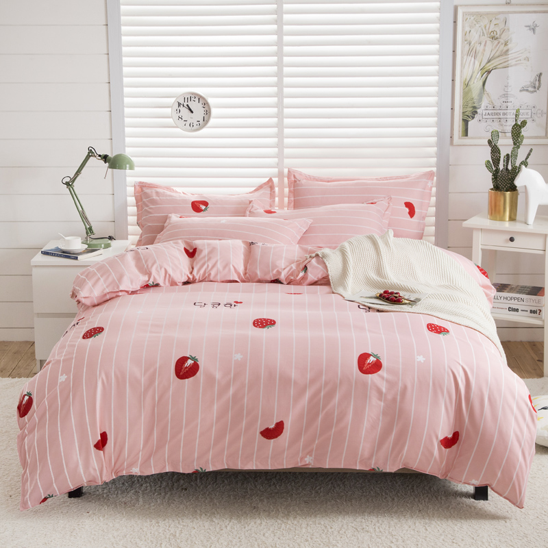 Bonenjoy Pink Color Comforter Cover Bedding Sets For Childern Queen Size Bed Sheet Set Strawberry Printed Kids Bedding Bed Linen