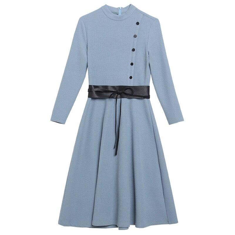 Populaire Fan Déesse Vêtements Automne Blue Tempérament Section Qpipsd Marée purple brown Période De Robe Femmes Printemps 2018 Longue Et PfqfZv4