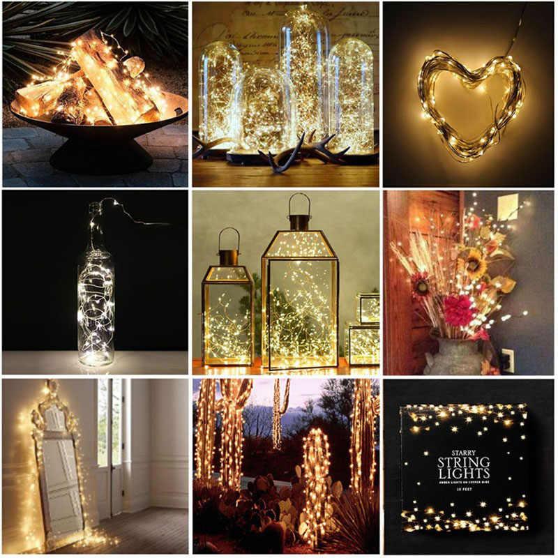 LED Dây đèn 10 m 5 m 2 m Bạc Dây Vòng Hoa Nhà Giáng Sinh Wedding Party Trang Trí Powered by 5 v Pin USB Cổ Tích ánh sáng