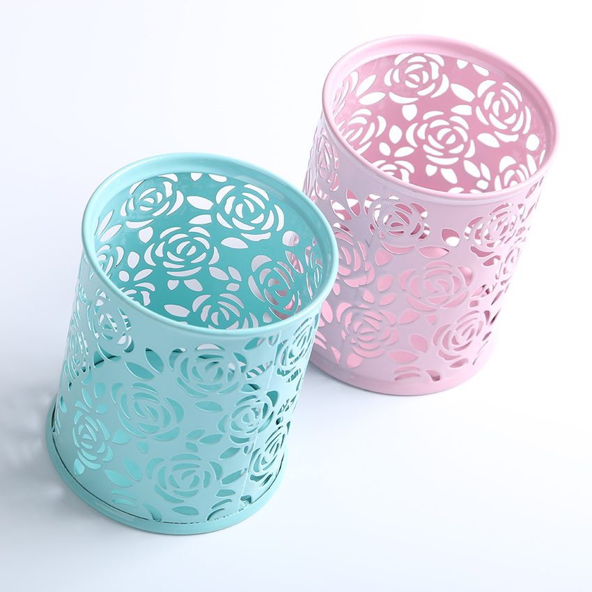 1 PC Metal Hollow Rose Flower Design Cylinder Pen Pencil Pot Holder Storage Pen Case Office Stationary Supplies