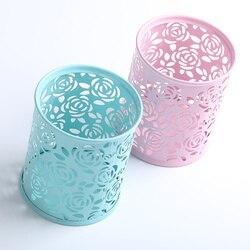 1 pc metal oco rosa flor design cilindro caneta lápis pote titular armazenamento caneta caso escritório estacionário suprimentos