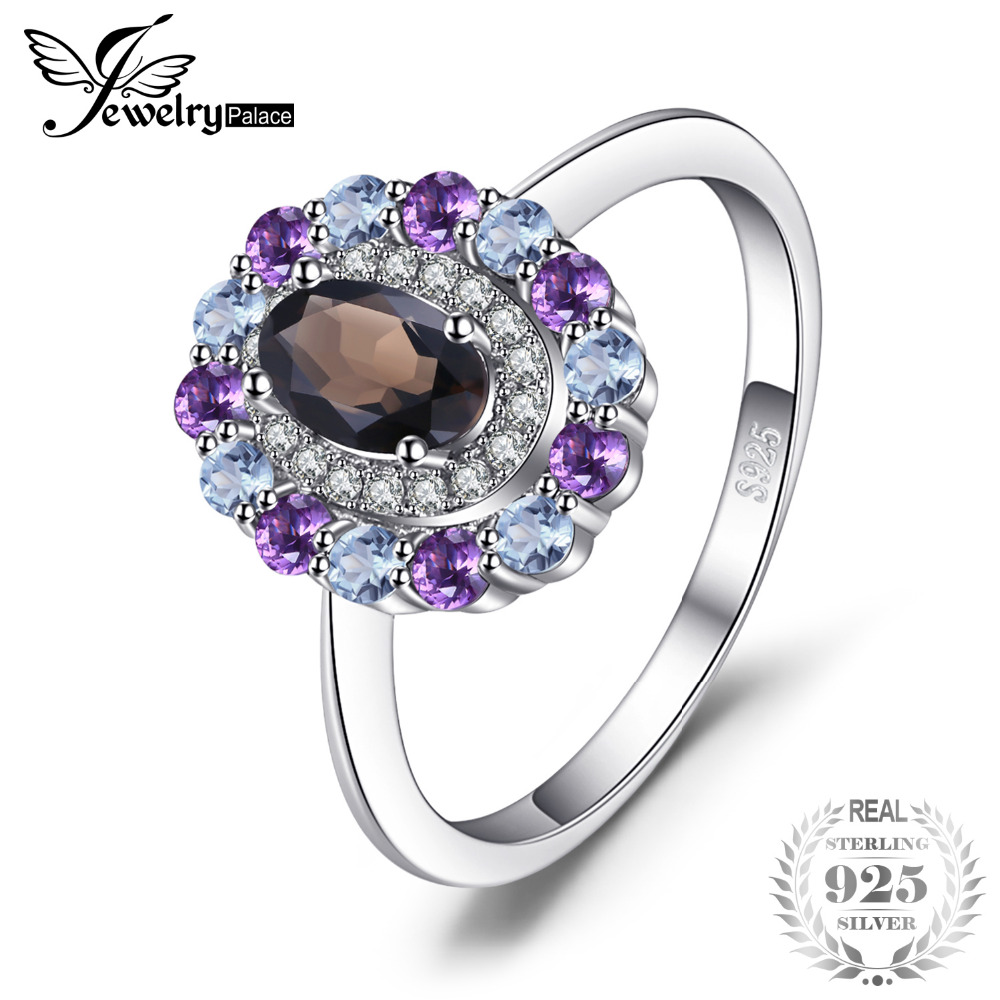 JewelryPalace 1ct Genuine Smoky Quartz Sky Blue Topaz Amethyst Cluster Ring 925 Sterling Silver Vintage Gift For Women Jewelry цена 2017