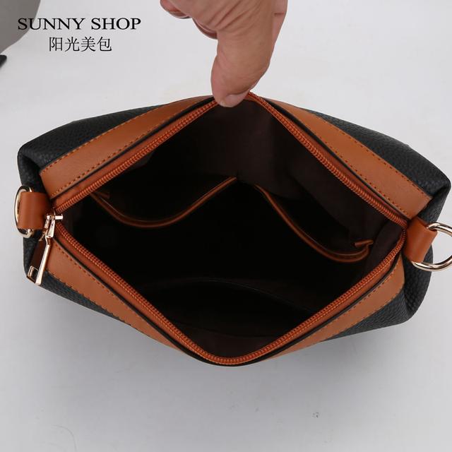 SUNNY SHOP 2 Bags/Set PU Leather Handbags Purse Set Women Bag Designer Over Shoulder Bags With Small Messenger Bags