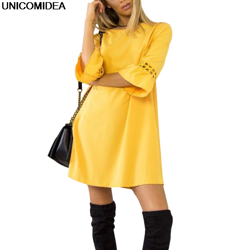 2018 Candy Color Yellow Red Black Dress Women Sexy Hollow Out A Line Loose Dress Casual Su