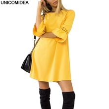 2018 Candy Color Yellow Red Black Dress Women Sexy Hollow Out A Line Loose Dress Casual Summer Clothes For Women Vestidos