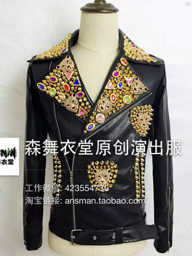 S-5xl 2020 New Men Slim Dj Male Singer Rivet Leather Motorcycle Jacket Plus Size Leather Coat Costumes Clothing