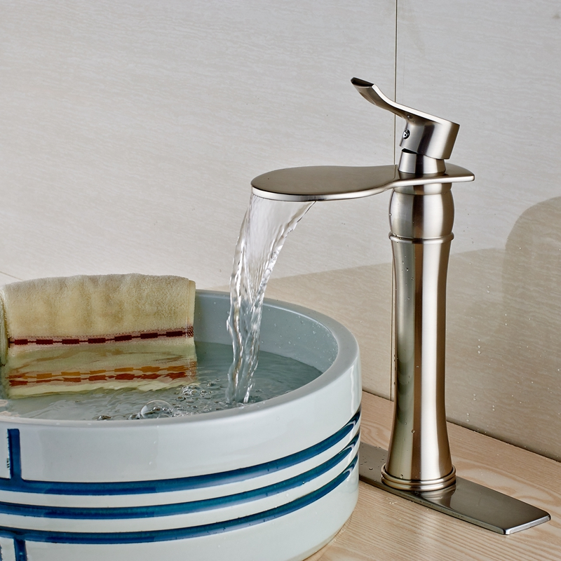 New Brushed Nickel Deck Mount Bathroom Sink Faucet Mixer Tap W/Square Plate