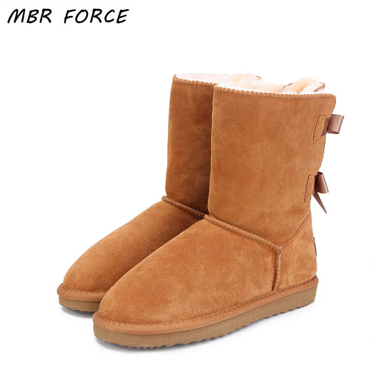 MBR FORCE High Quality Brand women winter snow boots genuine leather  snowboots female botas laces for footwear zapatos Warm
