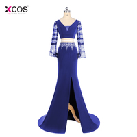 Sexy Two Pieces Prom Dresses Long 2018 Royal Blue Sheer Long Sleeve Beads Criss Cross Back Side Split Formal Party Gowns