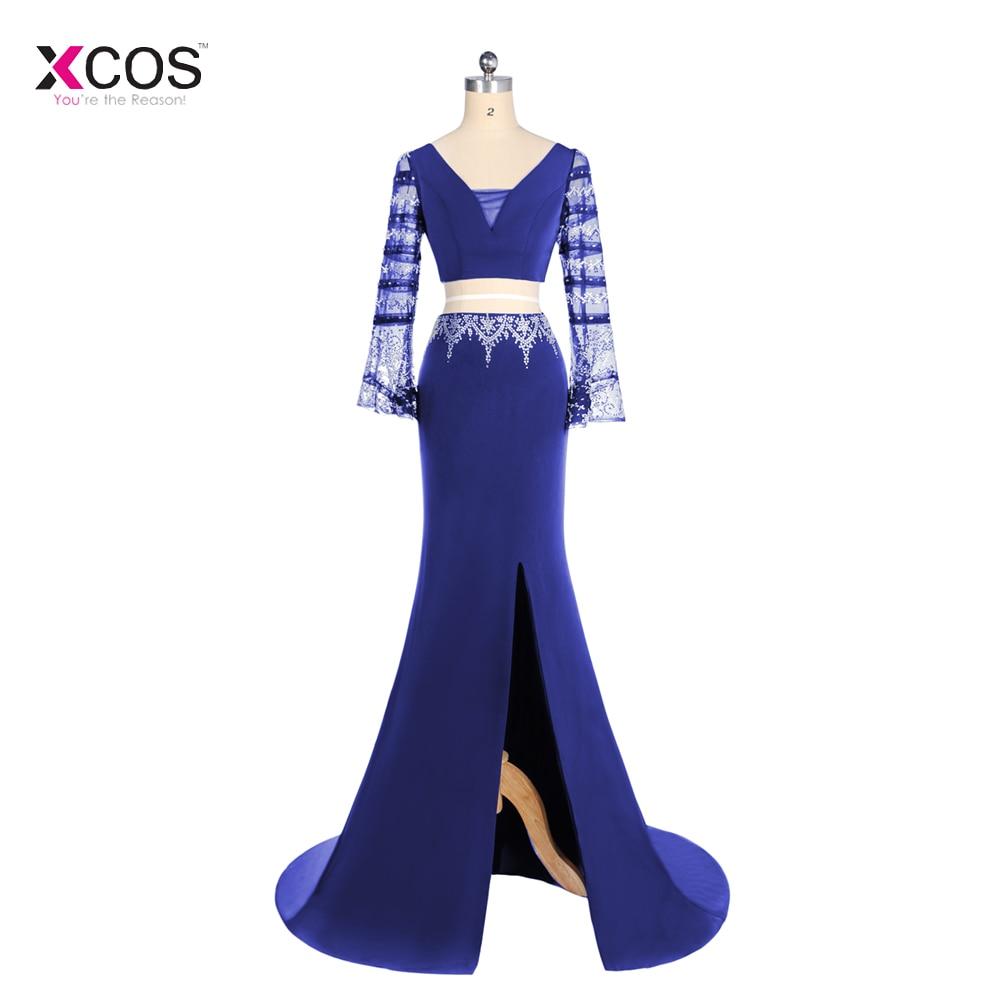 Sexy deux pièces robes de bal longue 2018 bleu Royal pure à manches longues perles Criss croix dos fente formelle robes de soirée
