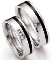 Пользовательский черный декор хирургические titanium Нержавеющая сталь обручальные кольца пара пар Альянс