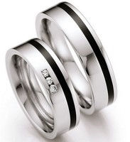 custom black inlay surgical titanium stainless steel wedding bands engagement couple rings pairs alliance