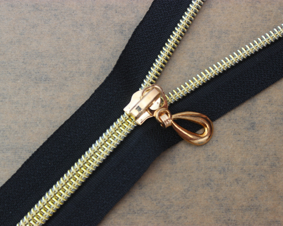 50piece 50cm Length Black Gold Tone Teeth Zipper Open End Metal Zippers for Sewing Coat Costumes