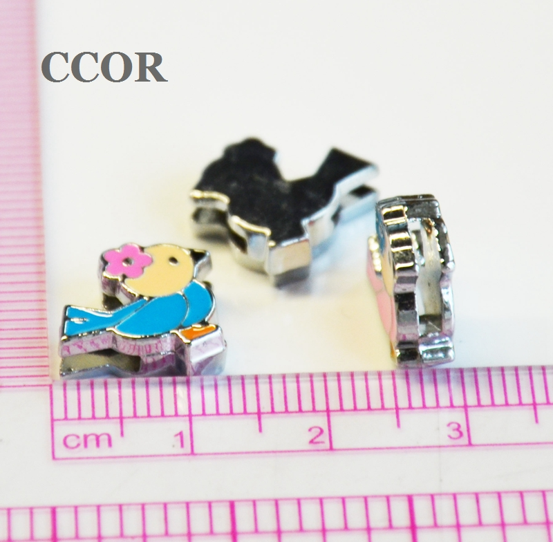 CCOR 30-100pcs DIY accessory Alloy 8mm Inner Dia. 13MM*11MM Birds Slide Charms Beads DIY 8MM Dog Cat Collar Wristband CD0142