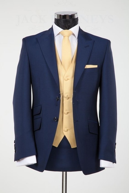 2017 Navy Blue Men Suits Blazer With Golden Vest Wedding