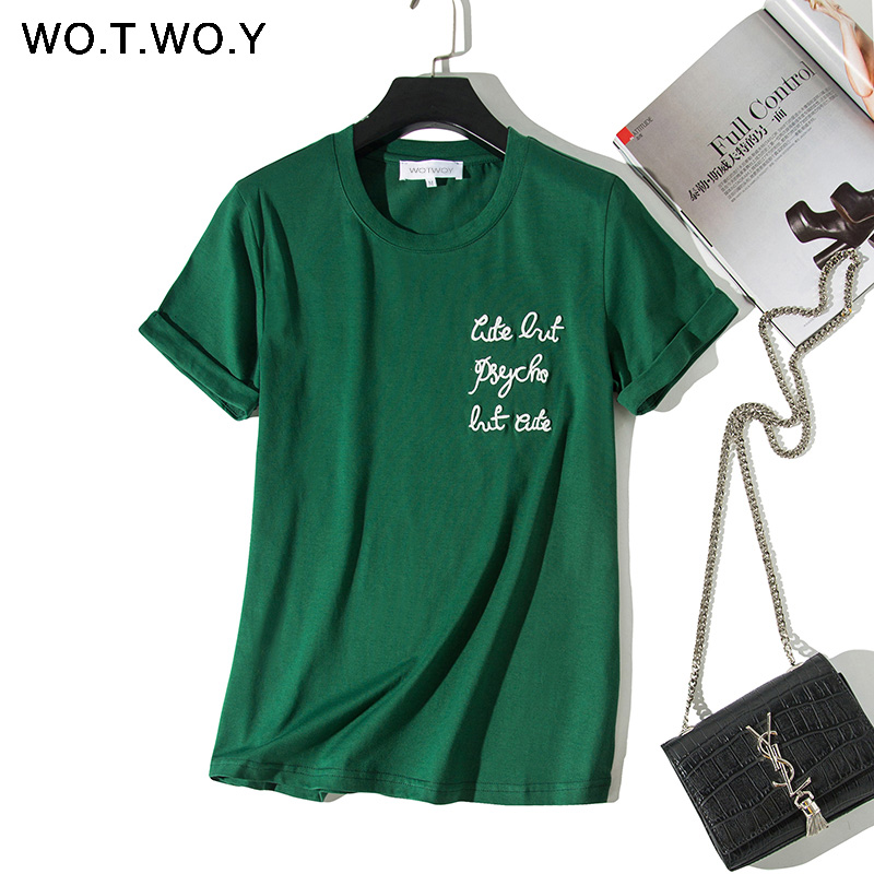 WOTWOY Letters Embroidery T-shirts Women 2019 Summer Cotton O-neck Short Sleeve Tshirts White Plus Size Women Tees Top Harajuku