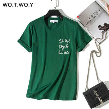 WOTWOY Letters Embroidery T-shirts Women 2019 Summer Cotton O-neck Short Sleeve Tshirts White Plus Size Women Tees Top Harajuku - DISCOUNT ITEM  40% OFF All Category