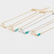 Best Selling 4 Chooses Beach Anklet  Simple Turquoise Wishbone Anklet For Women Accessories