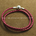 2016 New Honeysuckle Pink Double Leather and Sterling Silver Clip Clasp Starter Bracelet For Charms and Beads