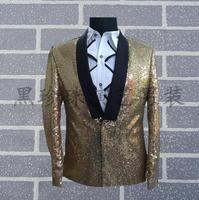 Gold Men Suits Designs Masculino Personalized Stage Costumes For Singers Men Sequin Blazer Dance Clothes Jacket