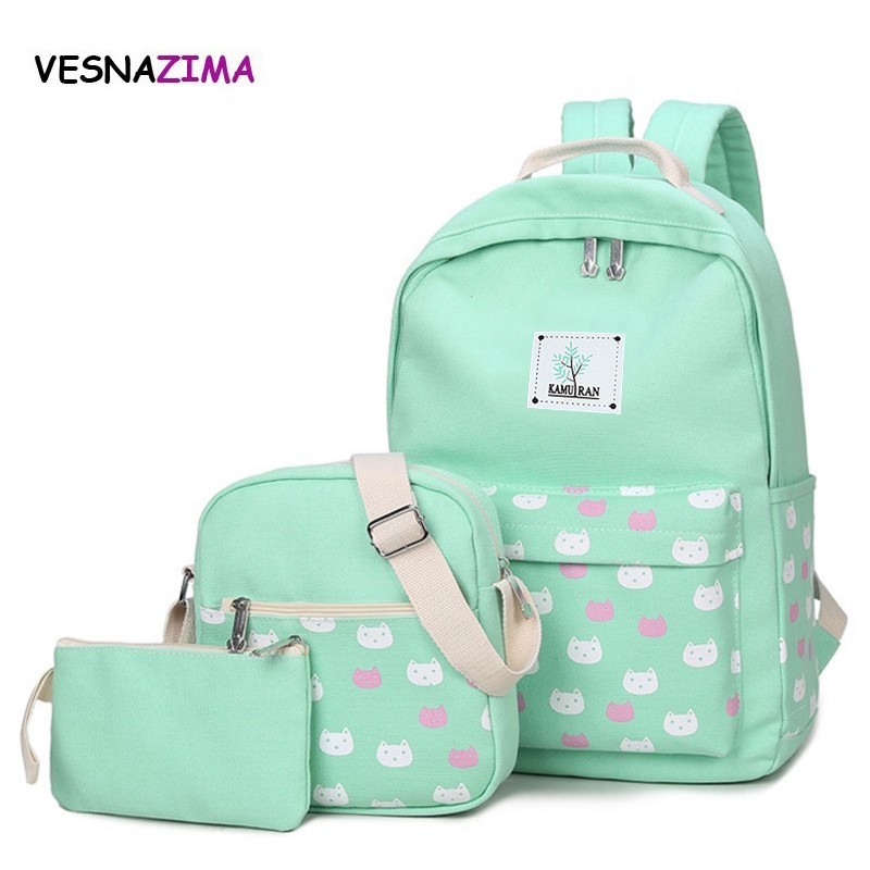 3 Pcs/set cat women backpack canvas printing school bags for teenagers girl backpacks cute schoolbag kids pen pencil case WM295Z