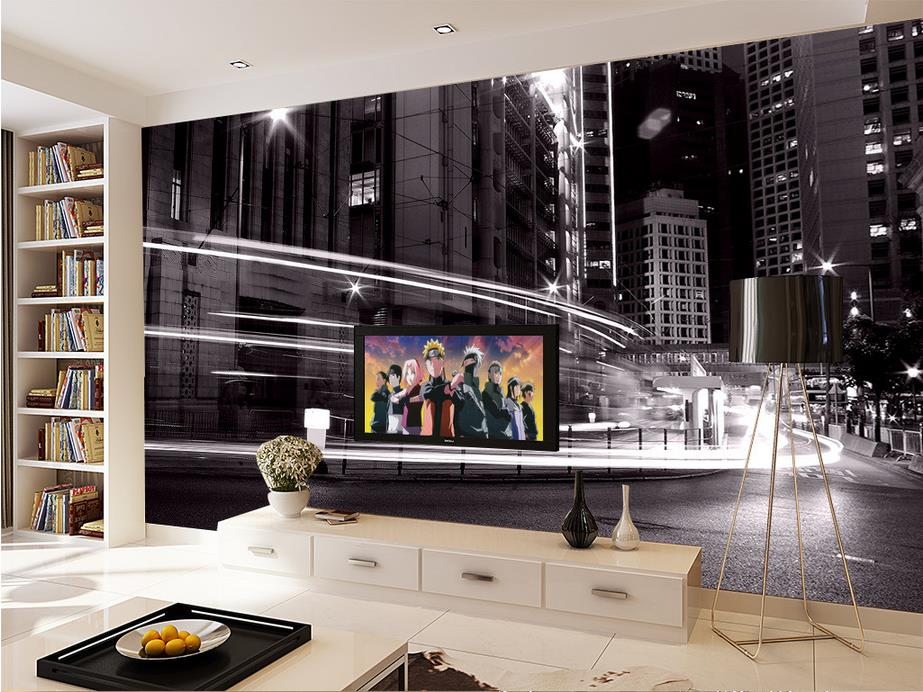 Custom 3d photo wallpaper room mural City night landscape Black and white painting sofa TV background non-woven wallpaper mural высокое качество wall painting custom 3d photo wallpaper для гостиной tv background mural обои для спальни для спальни city night