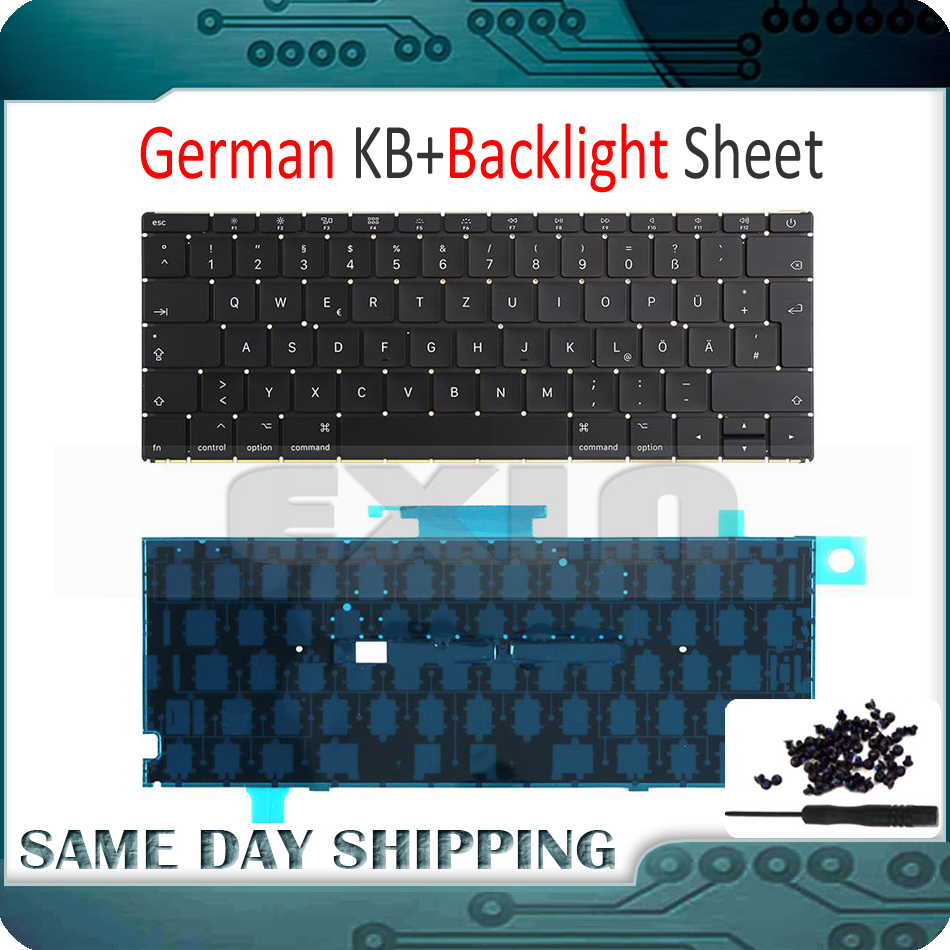 New Laptop A1534 German Keyboard w/ Backlight Backlit +Screws for Macbook 12 A1534 DE Deutsch Keyboard 2015 2016 2017 Year new laptop keyboard for ibm thinkpad e550 e555 e550c e560 e565 french belgian dutch deutsch german swiss turkish us layout