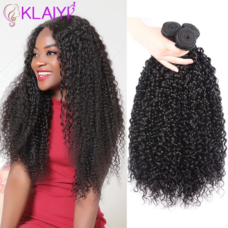 Klaiyi Hair Brazilian Hair Weave Bundles 3 Pcs Curly Human Hair Double Weft 8-26 Inch Natural Color Remy Hair Free Shipping