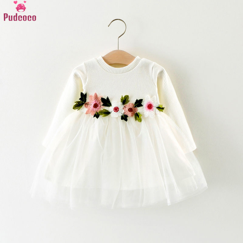Pudcoco Cute Winter 1Pcs Baby Girls Dress Knitted Flower Birthday Party Princess Pageant Prom Dress 3M-3Y 3 Colors
