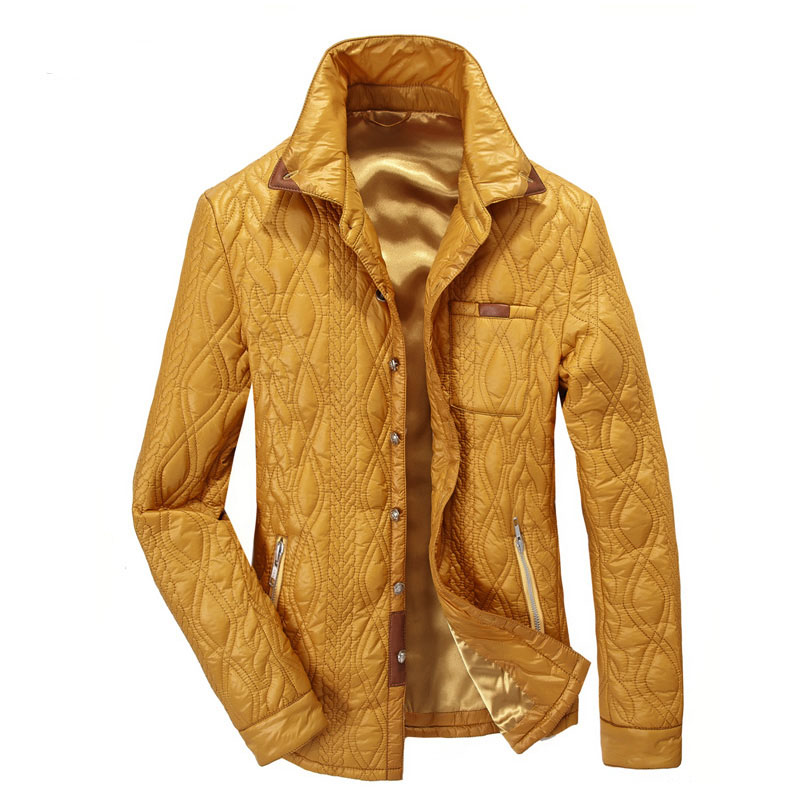 Winter Coat Men Brand Clothing British Gentleman Pattern Leather Stitching Thin Cotton Coat Mens Winter Jackets