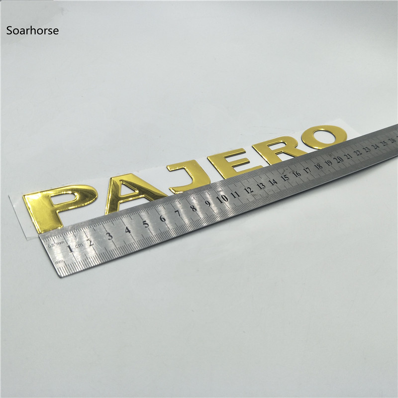 Image 5 - Soarhorse For MITSUBISHI PAJERO Gold 3D Letters Rear Boot Trunk Tailgate Emblem Nameplate Decals Car Accessroies-in Car Stickers from Automobiles & Motorcycles