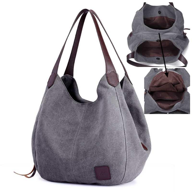 86860237312 SUNNY SHOP Canvas Hobos Causal Women Tote Bag Vintage Solid Mom Bag Large  Capacity Shoulder Bag