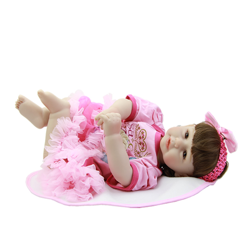 Realistic 20 Inch 50 cm Reborn Babies Dolls Lifelike Silicone Vinyl Alive Princess Girl Baby Cloth Body Doll Toy Kids Playmate cloth body 22 inch baby doll reborn silicone lifelike newborn babies alive princess dolls with i love mummy dress kids playmate