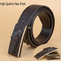 High Quality Cow Leather Belt New Fashion Smooth Buckle Belt for Men Casual Copy Crocodile Print Belt larger size 110 130cm
