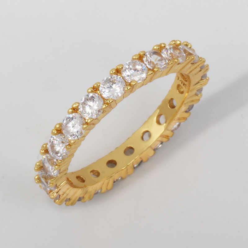 2019 ใหม่เงินหลายสี Zirconia สายรุ้ง CZ แหวนผู้หญิงสีสันสดใส CZ Dainty ซ้อนแหวน