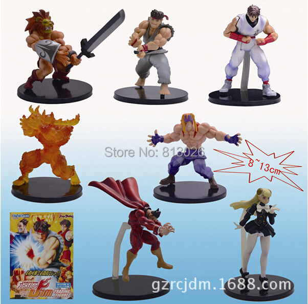 ФОТО 8-13cm 7pcs/set Street Fighter Capcom Ryu M. Bison Action Figures PVC brinquedos Collection Figures toys with Retail box