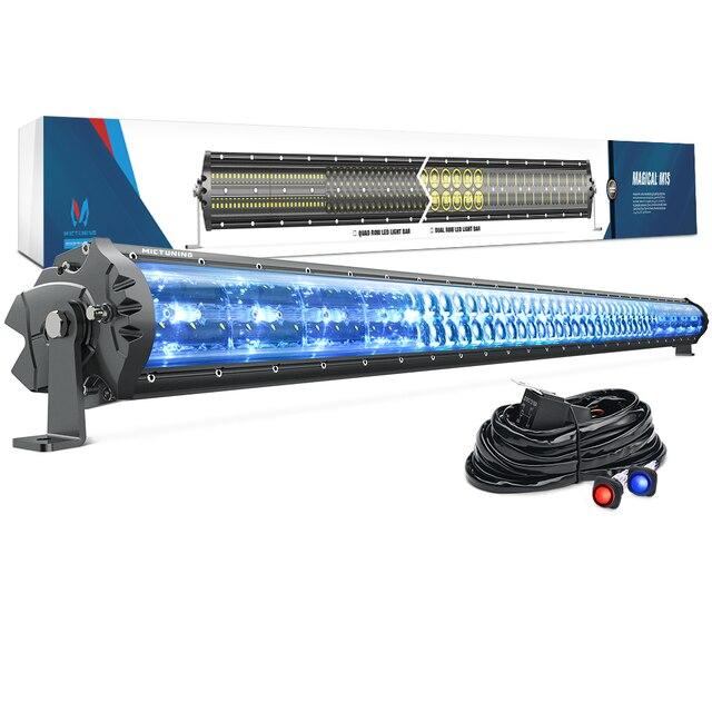 """MICTUNING M1S 52 """"LED בר עבודת אור כפולה שורה אווירודינמי עם קרח כחול אקסנט אור לכביש כבוי Jeep טרקטורונים משאית סירת 29100LM"""