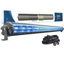 """Mictuning m1s 52 """"led barra de luz aerodinâmica dupla fileira com luz de acessório azul gelo para fora da estrada jeep barco do caminhão da atv 29100lm"""