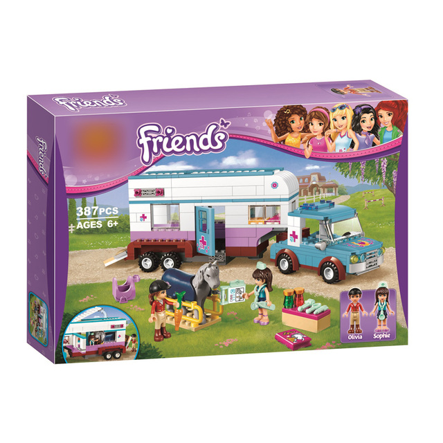 10561 Friends Horse Vet Trailer Touring Car Model Building Block kits Bricks fit Legoings Friends 41125 kids girls toys Gifts
