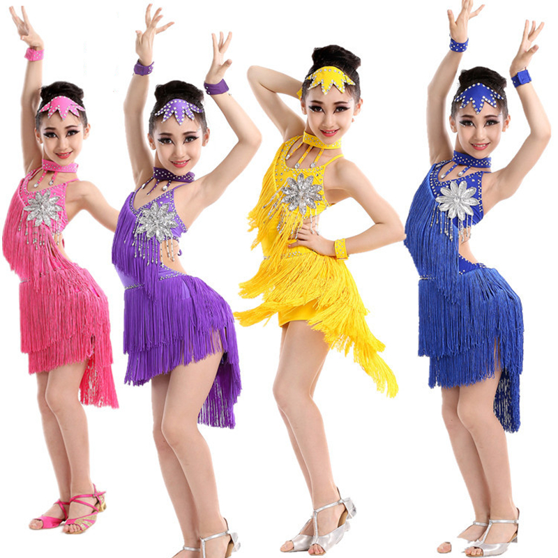 Fashion High Quality Milk Silk Crystal Flower Child Dress Kids Tassel Latin Dress Girls Rhinestones Dance Costumes with Headwear black backless latin dance dress women latin dress dancing clothes dancewear rumba dress latina salsa dress latin dance costumes