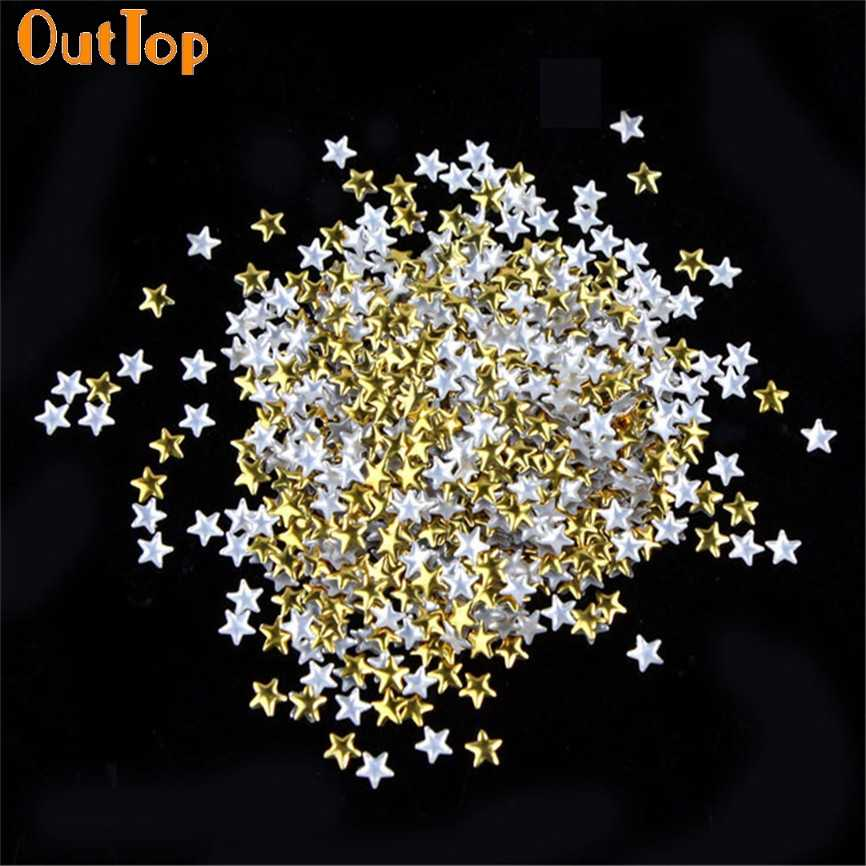 Nail Art OutTop Colorwomen 150pcs Gold Silver 5mm Star Metal Studs for Nails Phone Decoration 161130 Drop Shipping
