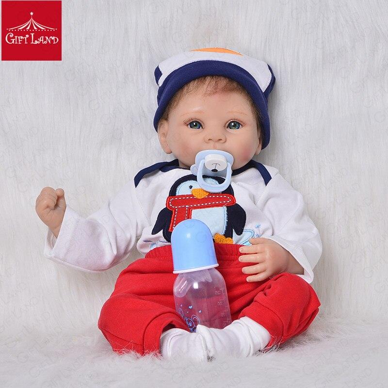 Reborn bébé poupée 22 pouces en Silicone souple en peluche enfants jouets en peluche pour enfants cadeau d'anniversaire Bebe Reborn amour poupée avec les mains ouvertes nouveau