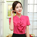 2016 Summer New elegant short sleeve women's shirt OL Stand collar chiffon Ruffles blouse ladies office plus size Formal tops