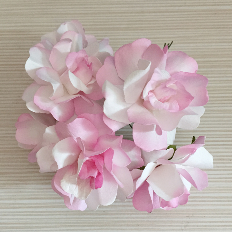 Free Shipping 72pcs 5cm Two Tone Color Artificial Big Scrapbooking Paper Flowers Wedding