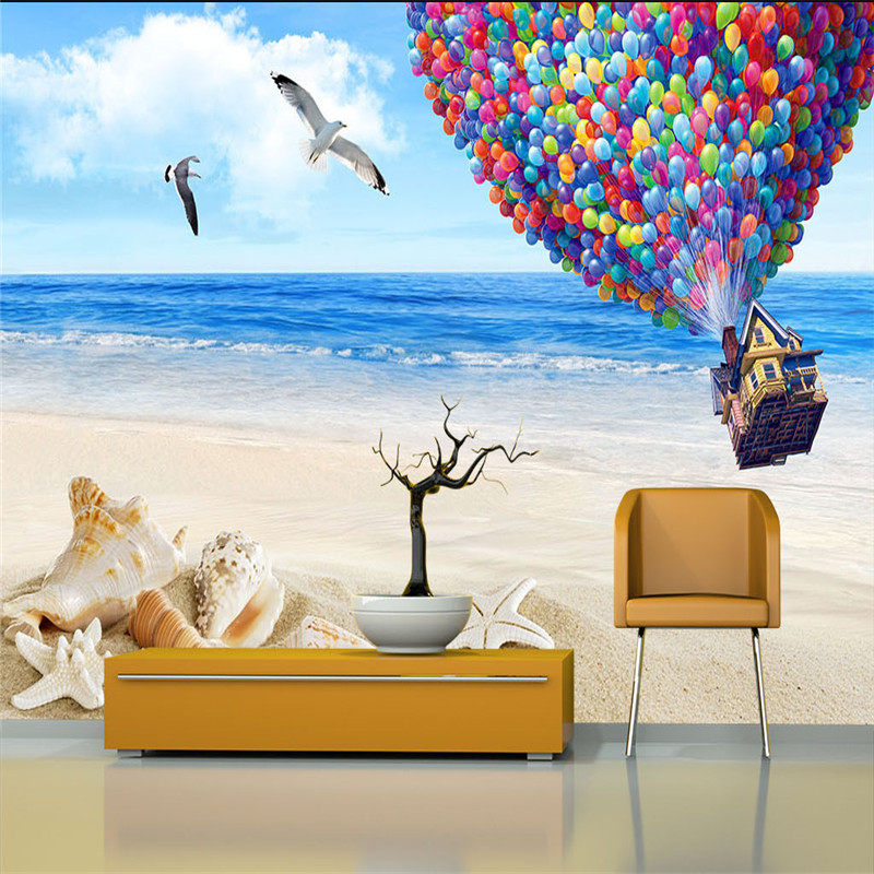 3D Custom Wallpapers for Kids Balloon Photo Murals Nature Landscape Walls Papers Sea Beach Scenery Wallpapers for Living Room TV shinehome european roman pillar angel soft roll wallpaper for 3d rooms walls wallpapers for 3 d living room wall paper murals